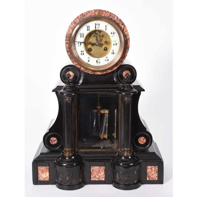 French Antique French Marble and Bronze Mantle Clock For Sale - Image 3 of 10