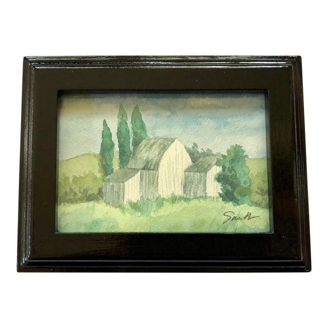 "Original Framed Watercolor Landscape ""Out Buildings"" For Sale"