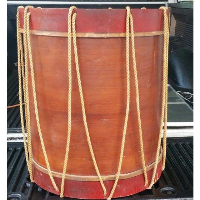 Blue 1950s Vintage Polychromed Drum Form Table For Sale - Image 8 of 10