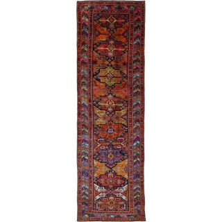 1960s Antique Persian Rug Azerbaijan Design With Pastel Colored Traditional Motif - 4′6″ × 14′8″ For Sale