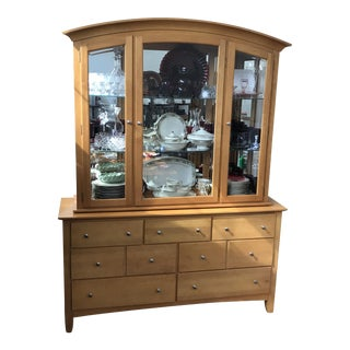 Illuminated Maple Display Case and Sideboard