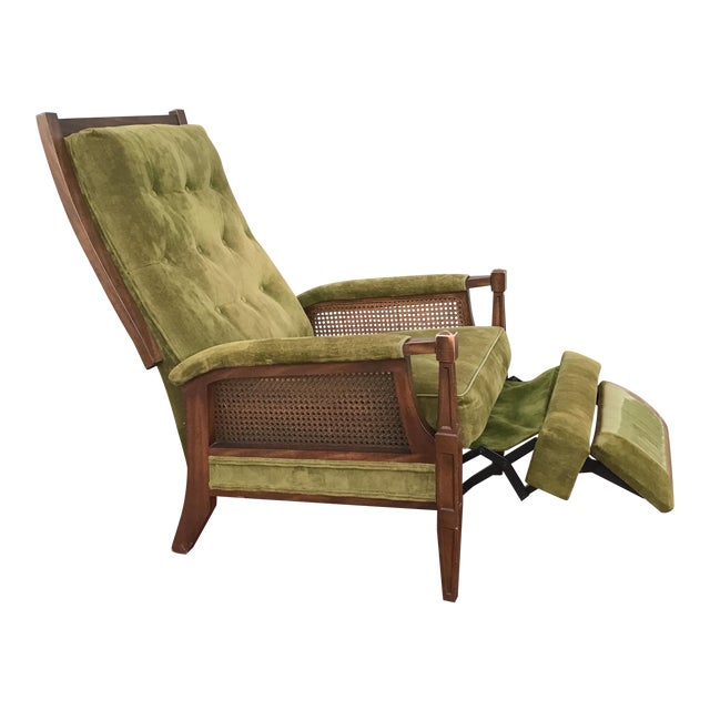 Mid-Century Cane Reclining Chair - Image 1 of 6