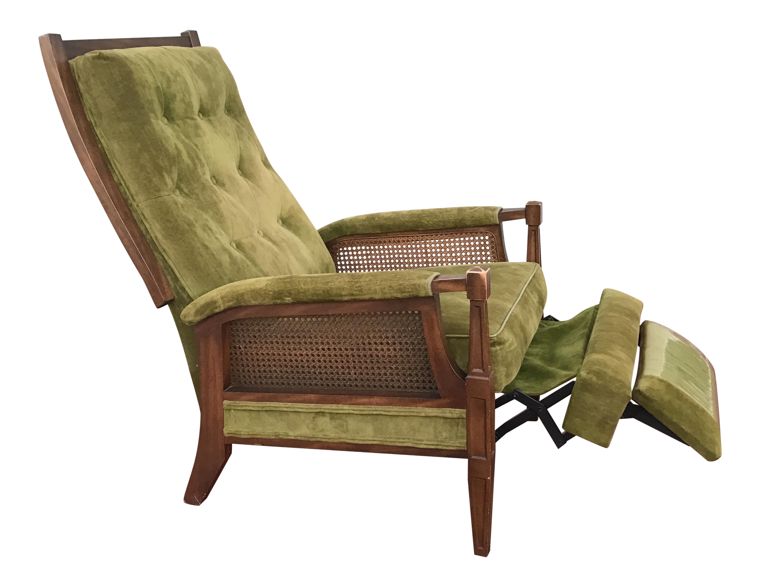 Mid Century Cane Reclining Chair