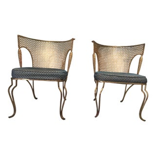 1940s Vintage Gold Coated Brass Garden Chairs- a Pair For Sale