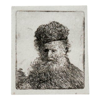 Rembrandt Van Eijn Original Etching Bust of an Old Man With a Fur Cap For Sale