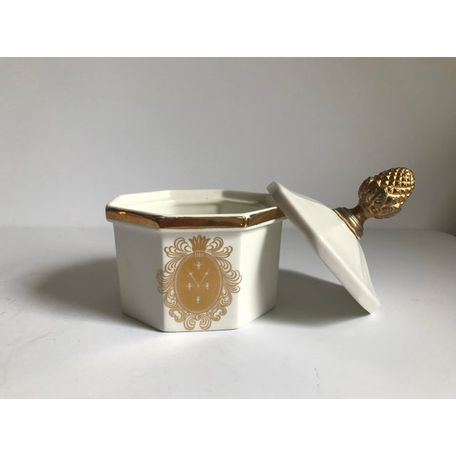 Vintage Bowl With Gold Acorn Finial Cover - Image 3 of 7