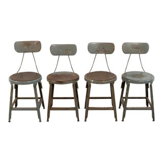 1940s Industrial Steel Dining Chairs - Set of 4 For Sale