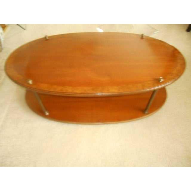 Vintage Brandt Burl Wood Inlay Oval Coffee Table For Sale - Image 6 of 7