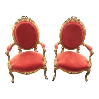 Antique Giltwood French Louis XVI Fauteuil Chairs - a Pair