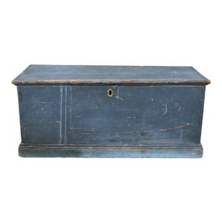 Antique East Coast Blue-Gray Trunk Chest Coffee Table For Sale