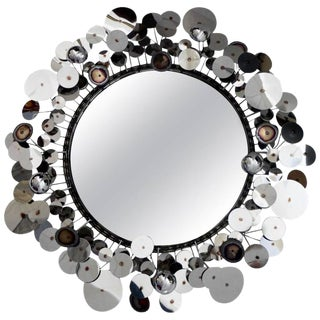 "Curtis Jere ""Raindrops"" Silver Disc Sculpture Wall Mirror by Artisan House For Sale"