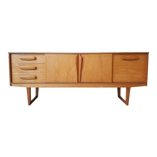 Mid Century Modern Danish Clear Cherrywood Buffet, Credenza, 1960s For Sale