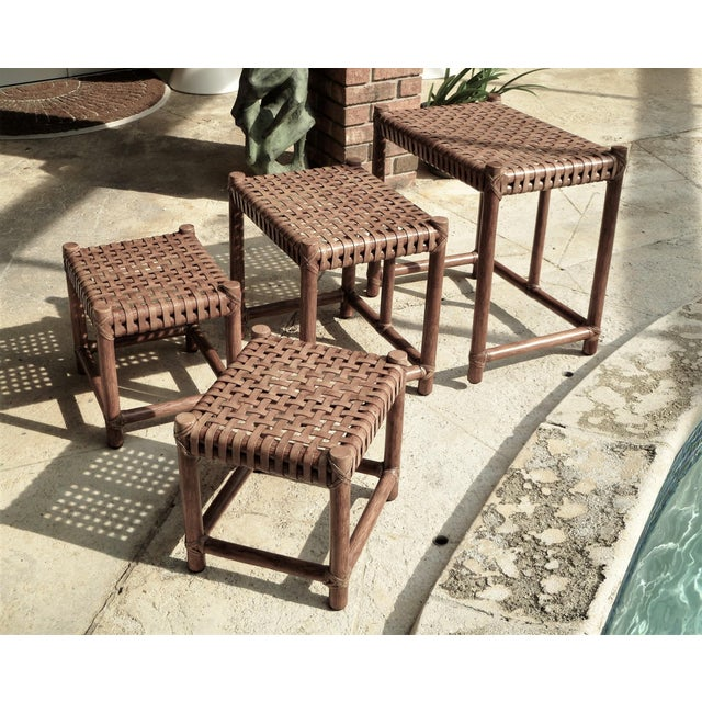 Mid-Century Modern 1980s Rustic Modern McGuire Rattan and Laced Leather Nesting Tables or Stools - Set of 4 For Sale - Image 3 of 12