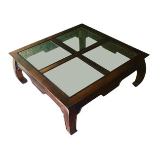 Vintage Chinese Ming Coffee Table With Glass Inserts