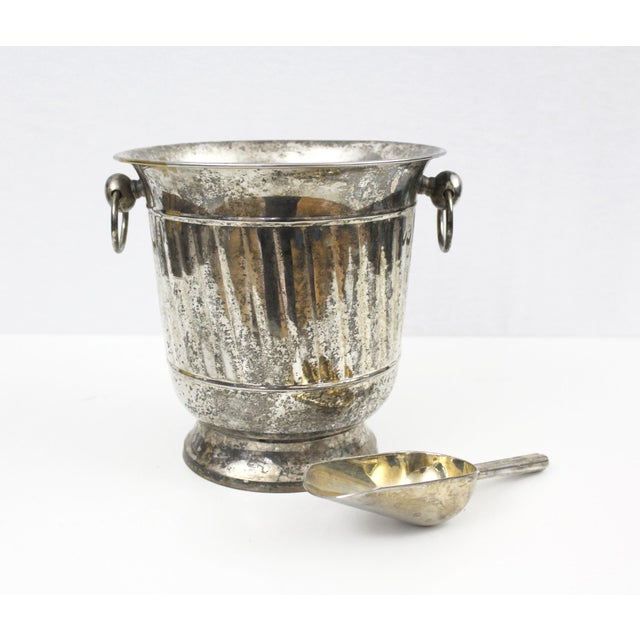 Vintage Silver Plated Ice Bucket With Scoop Champagne Bucket Silverplate Godinger For Sale - Image 9 of 9