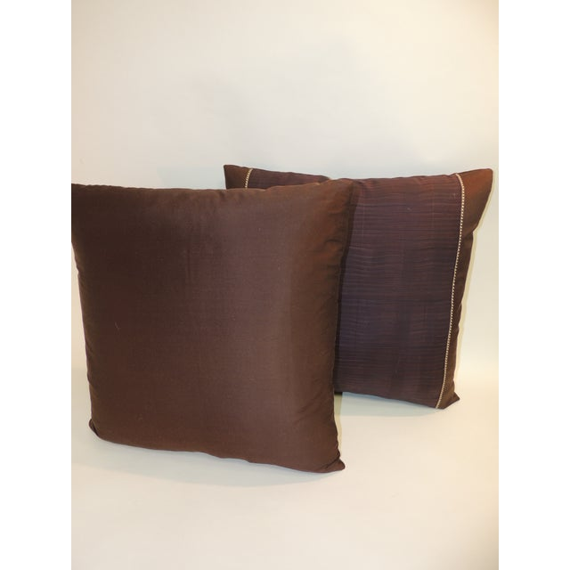 Asian Pair of Vintage Brown and Purple Woven Decorative Square Pillows For Sale - Image 3 of 5