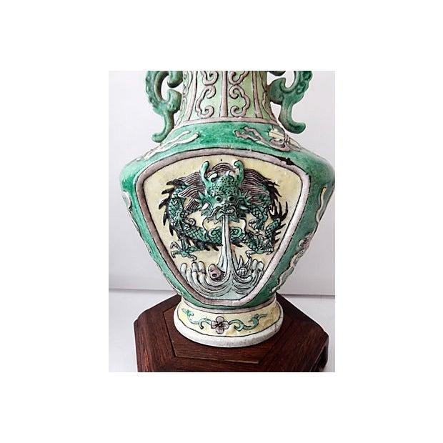 19th C. Porcelain Dragons Lamp - Pair - Image 6 of 10