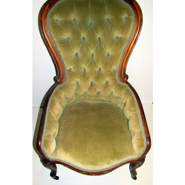 Victorian Chair With Green Velvet Upholstery For Sale - Image 5 of 11