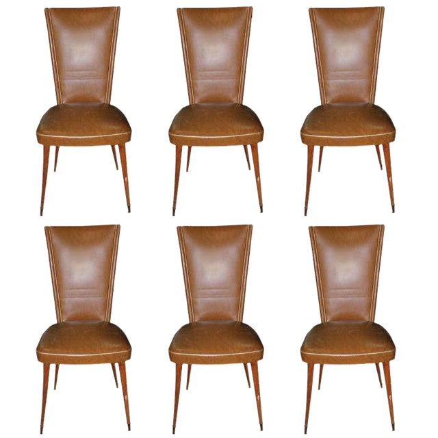 1940s Vintage French Art Deco Walnut Dining Chairs - Set of 6 - Image 1 of 7