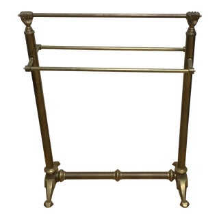Andre Arbus Style Victorian Clasped Hands Towel Quilt Stand Holder Brass For Sale
