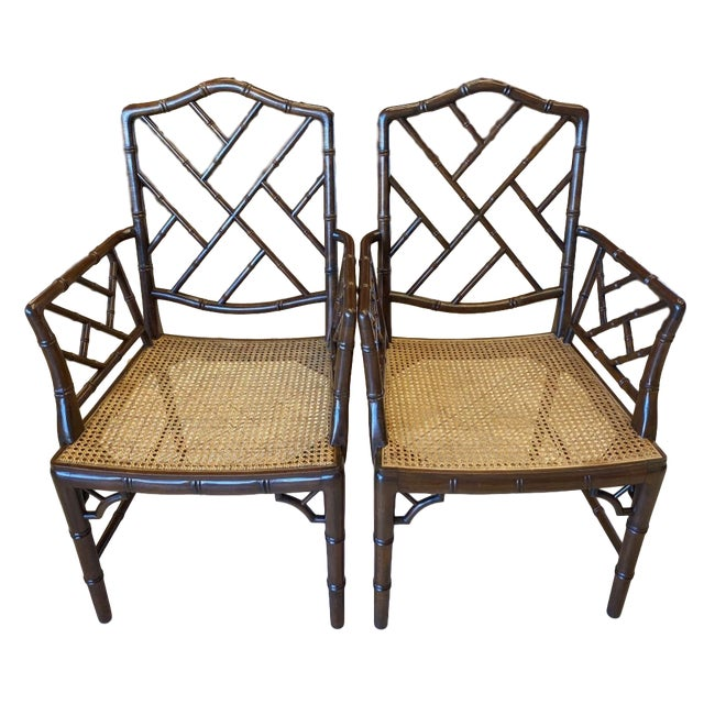 Vintage Chinese Chippendale Faux Bamboo Armchairs or Host & Hostess Chairs - a Pair For Sale - Image 11 of 11
