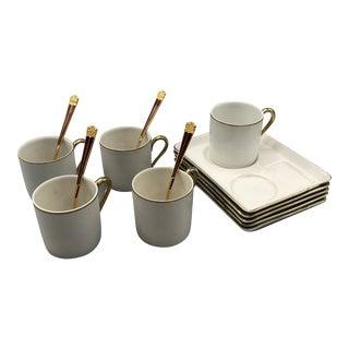 1960s Mid Century Coffee/Tea Set Porcelain Tray With Espresso Mugs - 14 Piece Set For Sale
