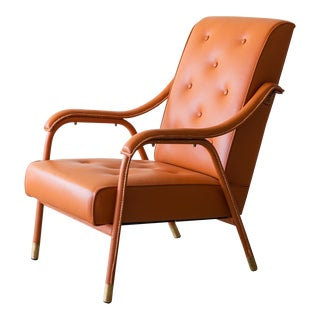 Armchair by Jacques Adnet Fully Restored in Cognac Leather, 1950s
