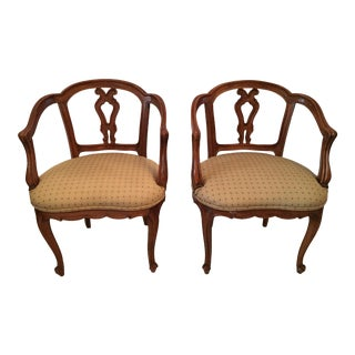 1940s Vintage French Boudoir Chairs- A Pair For Sale