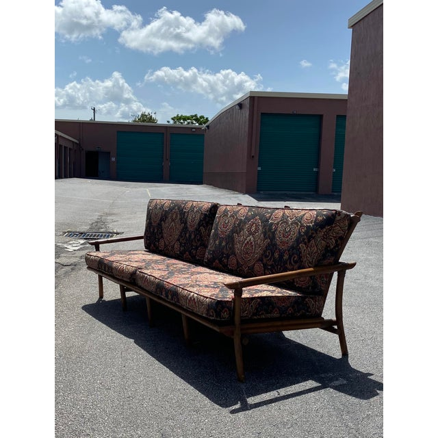 Vintage Bamboo Long Sofa in the Manner of John Wisner for Ficks Reed For Sale In Miami - Image 6 of 9