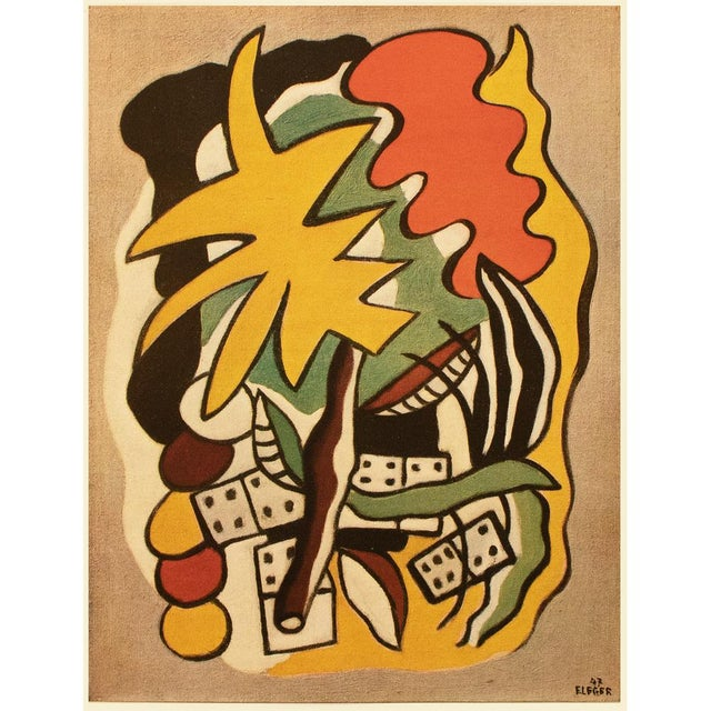 """Persimmon 1948 Fernand Léger """"Dominoes Composition"""", First Edition Period Parisian Lithograph For Sale - Image 8 of 8"""