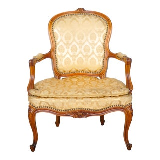 1920s French Louis XV Oak Armchair For Sale