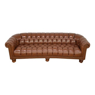 Mid Century Leather Tufted Chesterfield Demilune Sofa For Sale