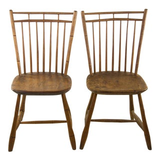 Primitive Fruitwood Slat Back Side Chairs - A Pair
