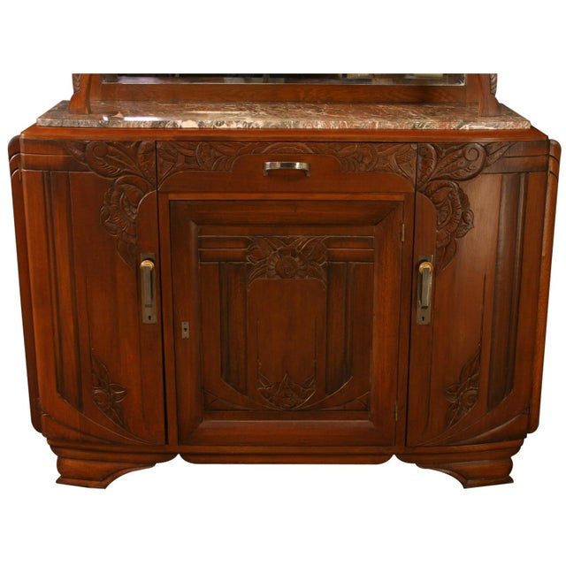 Art Deco 1920 French Art Deco Carved Walnut Buffet For Sale - Image 3 of 8