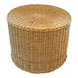 Image of Boho Chic Rattan Wicker Round Accent End Table For Sale