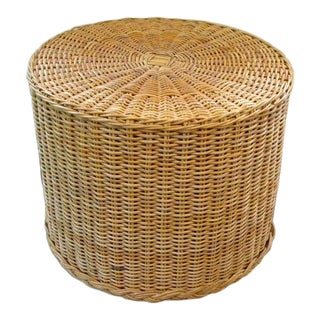 Boho Chic Rattan Wicker Round Accent End Table For Sale