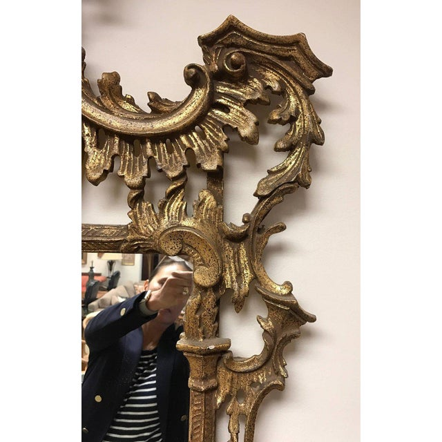 Carved Chinese Chippendale Gold Giltwood Large Pagoda Mirror Made in Italy For Sale - Image 4 of 7