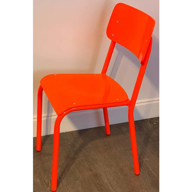 Red Declercq Mobilier Modern Ml45 Neon Red Chairs - Set of 6 For Sale - Image 8 of 13
