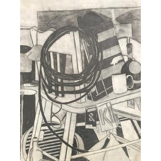 20th Century Black & White Charcoal Drawing on Archival Paper For Sale