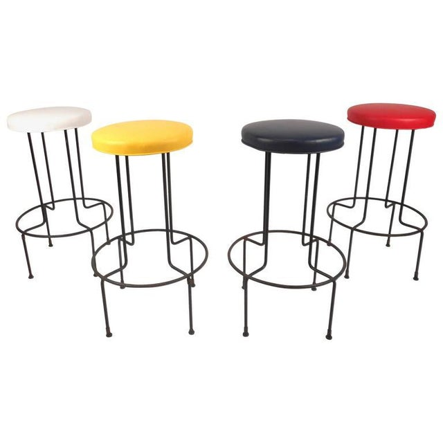 Frederick Weinberg Set of Mid-Century Modern Wrought Iron Bar Stools by Frederick Weinburg For Sale - Image 4 of 8