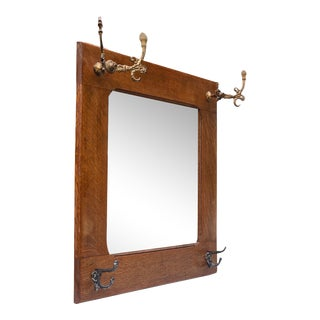Antique Victorian Quartersawn Oak Square Hall Mirror With Hooks For Sale