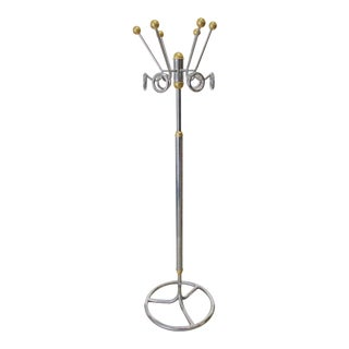 Vintage Italian Chrome and Brass Coat Hat Rack For Sale