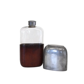 English WWII Leather and Pewter Flask For Sale