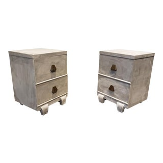 Memphis Group Style Faux Concrete Nightstands With Brass Pulls For Sale