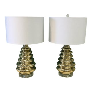 Mid-Century Modern Brass Escalating Stacked Rings Lucite Base Table Lamps - a Pair For Sale
