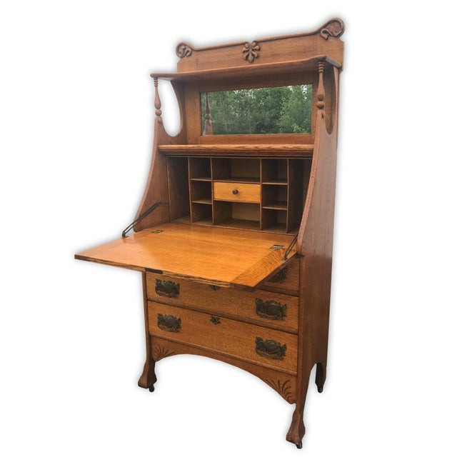 Antique Larkin Style Tiger Oak Drop Front Secretary Desk Image 2 Of 8