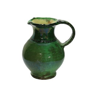 Antique French Green Glazed Water Jug For Sale