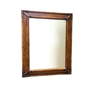Vintage Faux Bamboo Mirror Rattan Wall Mirror For Sale