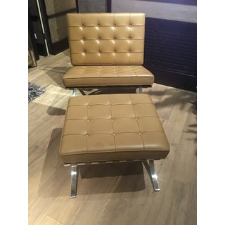 1970s Vintage Mies Van Der Rohe Barcelona Chairs and Ottoman- 3 Pieces Preview