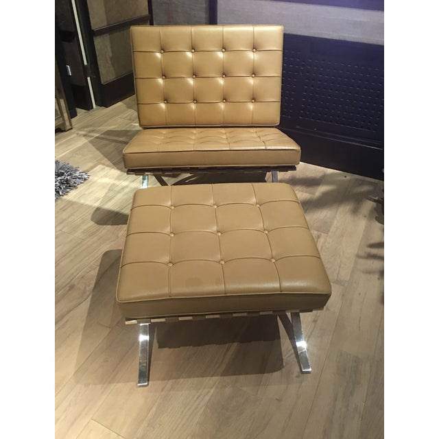 Ludwig Mies Van Der Rohe Barcelona Chairs and ottoman, Stainless Steel frames with Original Leather upholstery and Tags....
